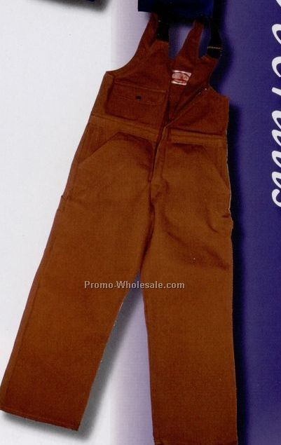 "12 Oz. Brown Duck Unlined Zip Front Bib Overall - 30""x44"" Waist/ Short"