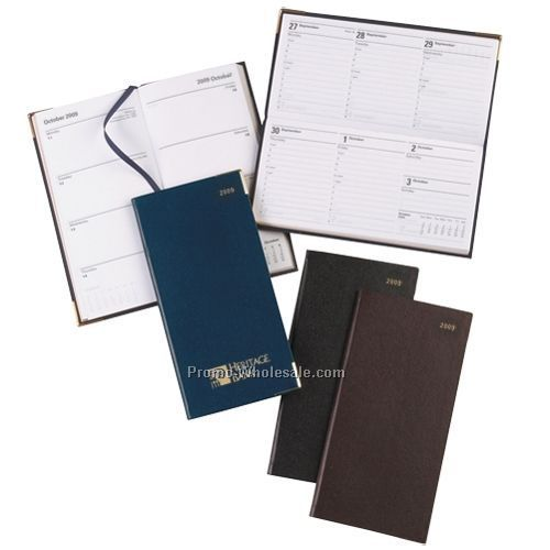 "3-1/8""x6-1/2"" Black Classic Planner W/ Gold Corner & Upright Pocket"