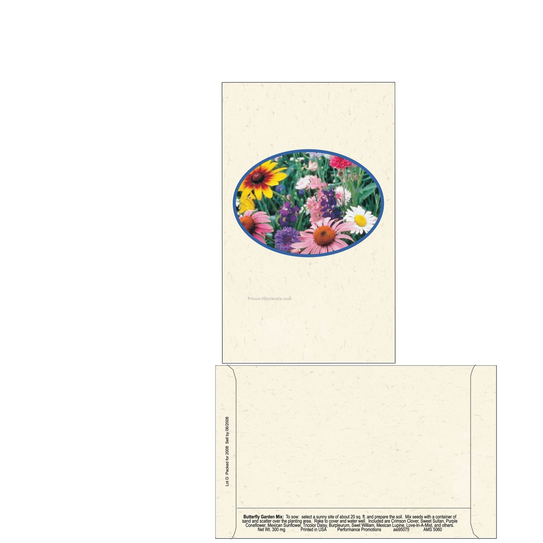 "4""x6-1/2"" Butterfly Mix Postcard Size Seed Packet (2 Color)"