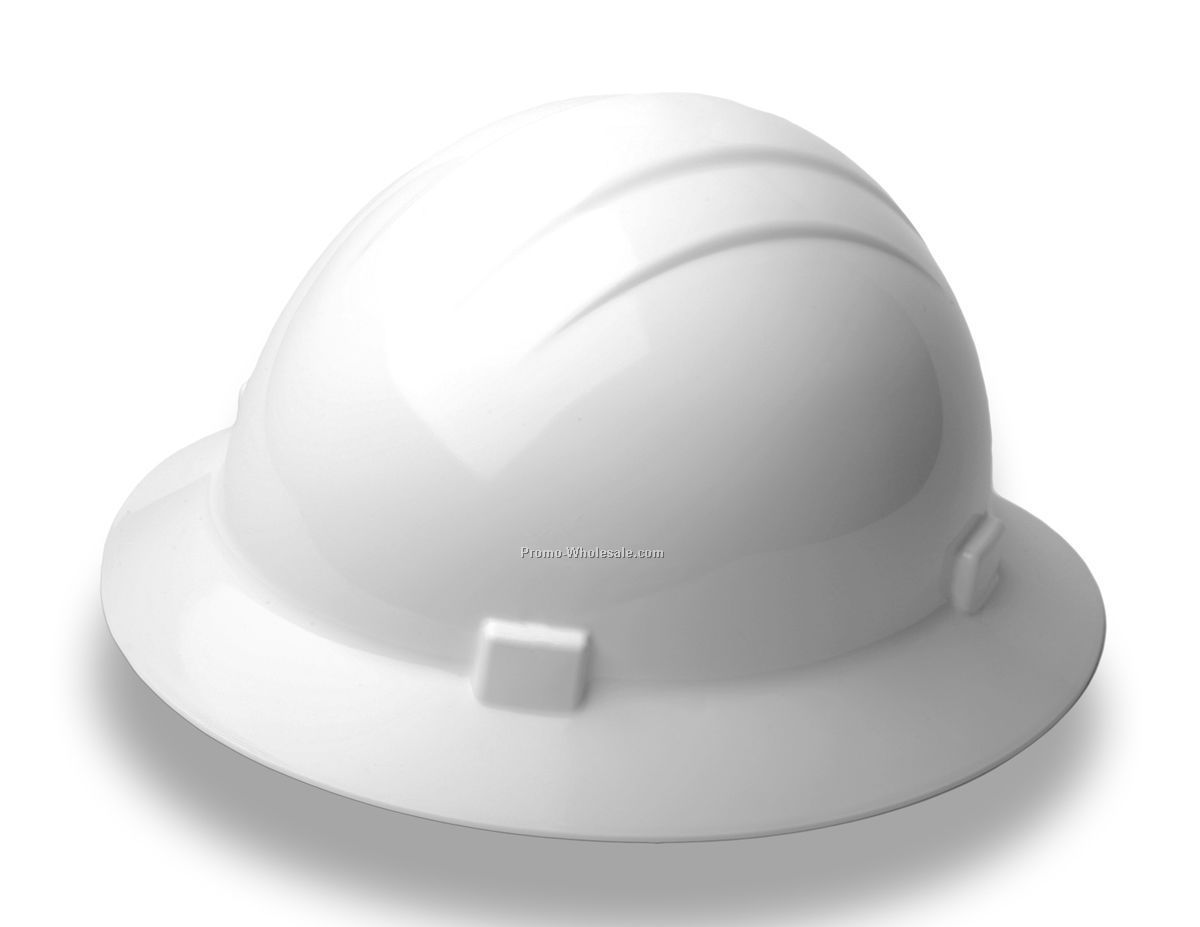 Americana Mega Ratchet Full Brim Safety Hats (White)