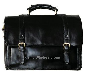 Black Hand Stained Calf Leather Workbag Computer Brief
