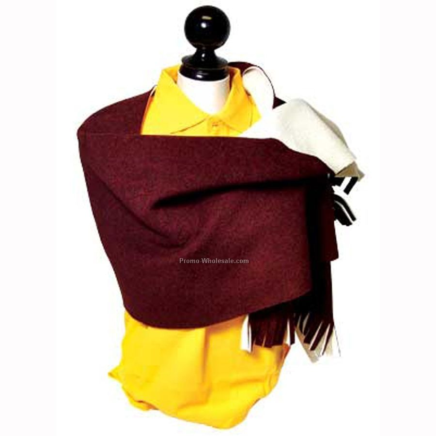"Bonded Fleece Shawl With Sherpa Fleece Lining (60""x24"")"