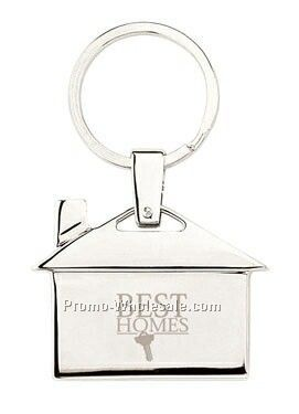 Chrome /Brushed Stainless House Shaped Key Ring