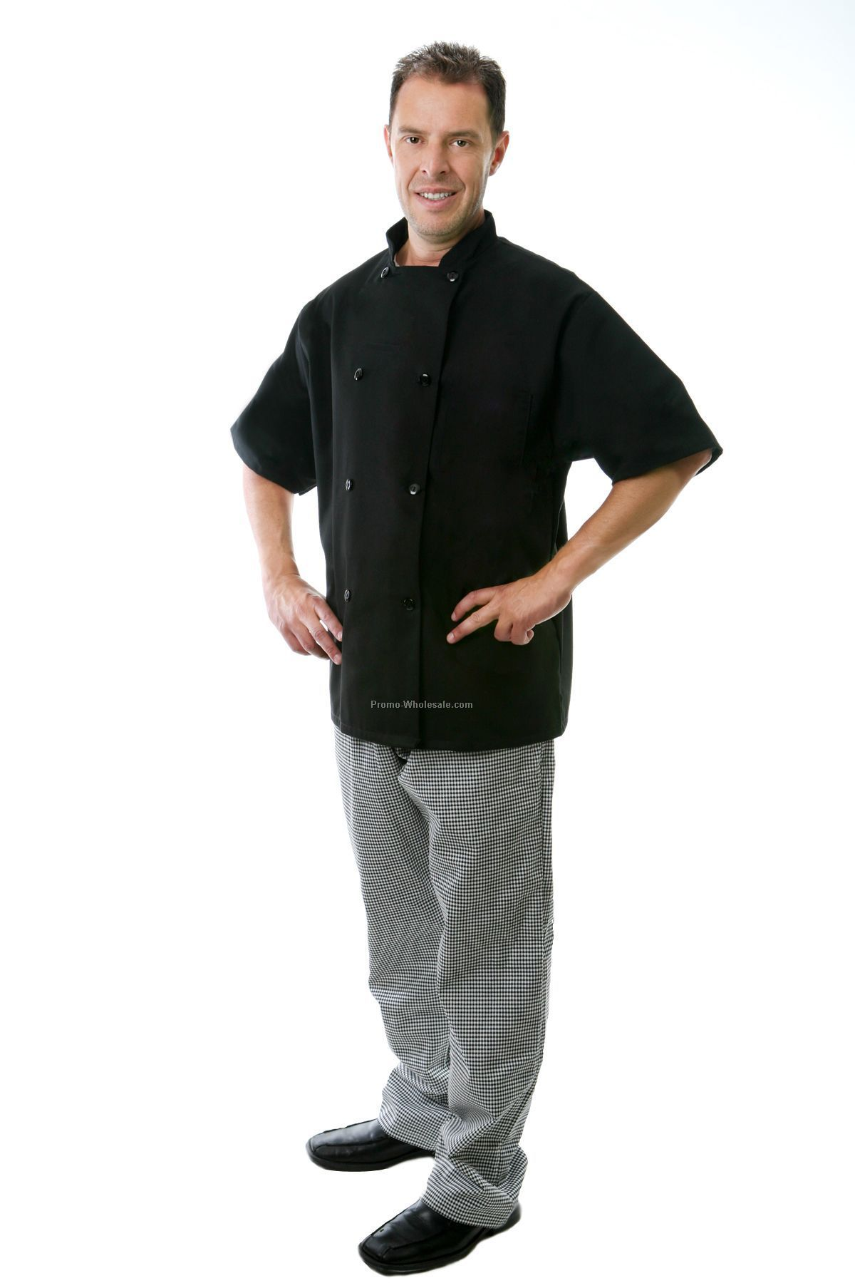 Classic Short Sleeves Chef Coat (Small/ Black)