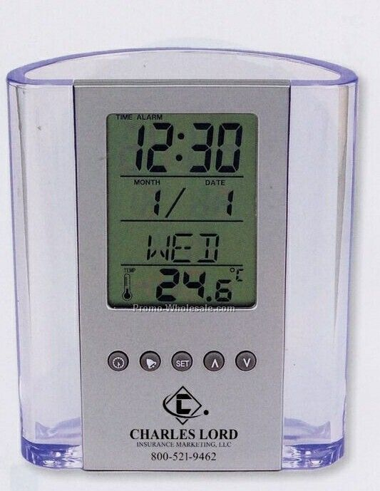 Clear Pen Cup W/ Digital Alarm Clock/ Thermometer (3 Day Shipping)