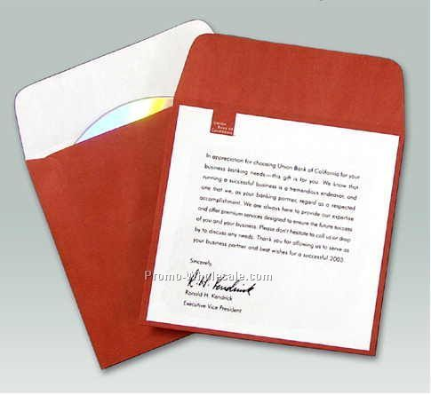 Custom Printed Paper Media Sleeve W/ Flap (2 Color)