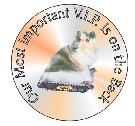 "Exotic Cat Round Hand Mirror W/ Full Mirror Back (2-1/2"")"
