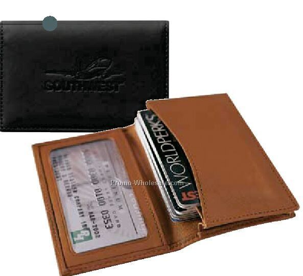 Full Grain Aniline Leather Expanding Card Case With Moire Lining