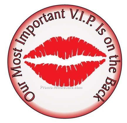 "Kiss Round Photo Hand Mirror W/ Full Mirror Back (2-1/2"")"