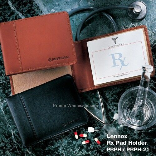 Lennox Calfskin Leather Prescription Pad Holder