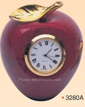 Marble Apple Paperweight With Analog Clock (Sandblasted)