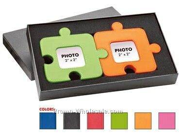 Set Of 2 Colorplay Leather Jigsaw Puzzle Shape Photo Frames