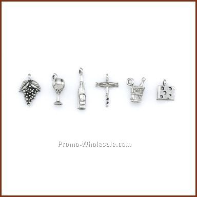 Set Of 6 Stock Wine Charms On Card