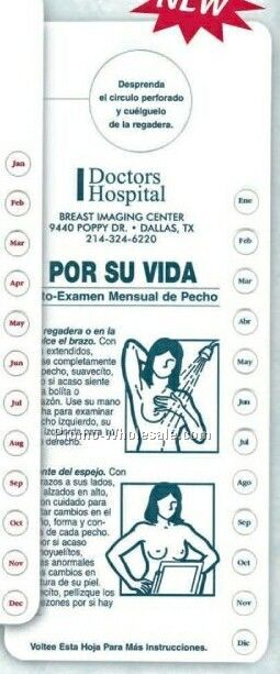 Spanish Breast Self-exam Chart With Monthly Punch-out Reminders