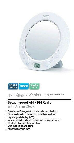 Splash Proof AM/FM Radio W/Alm Clk & Mir
