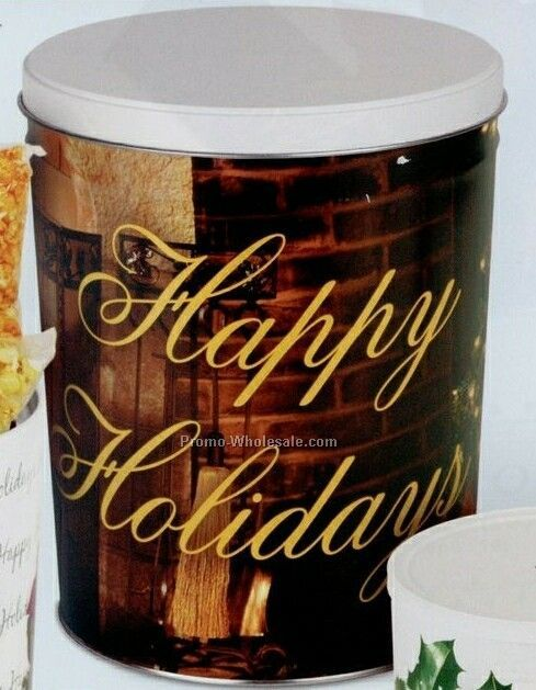 Stock 3 Gallon Gift Tin - Happy Holidays With Wreaths