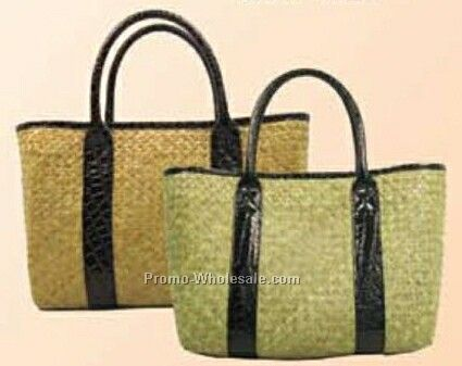 Straw Bag W/ Leather Handle