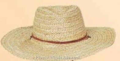 Straw Hat W/ Blocked Crown & Flat Brim (One Size Fit Most)
