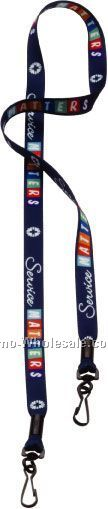 "1/2"" Dye Sublimated Double Swivel J-hook Lanyard"