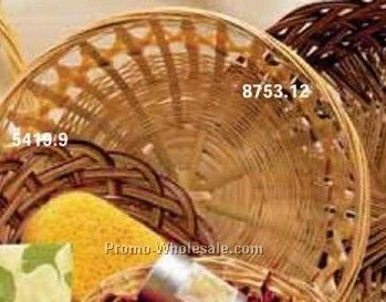 "10""x3-1/2"" Round Bamboo Bowl Open Wave Band Gift Basket (Partial Carton)"