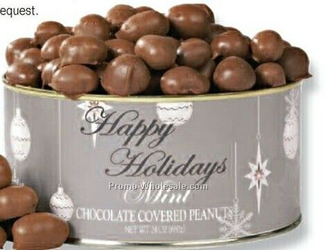 24 Oz. Mint Chocolate Peanuts Tin W/ Silver Holiday Label & Top Sticker