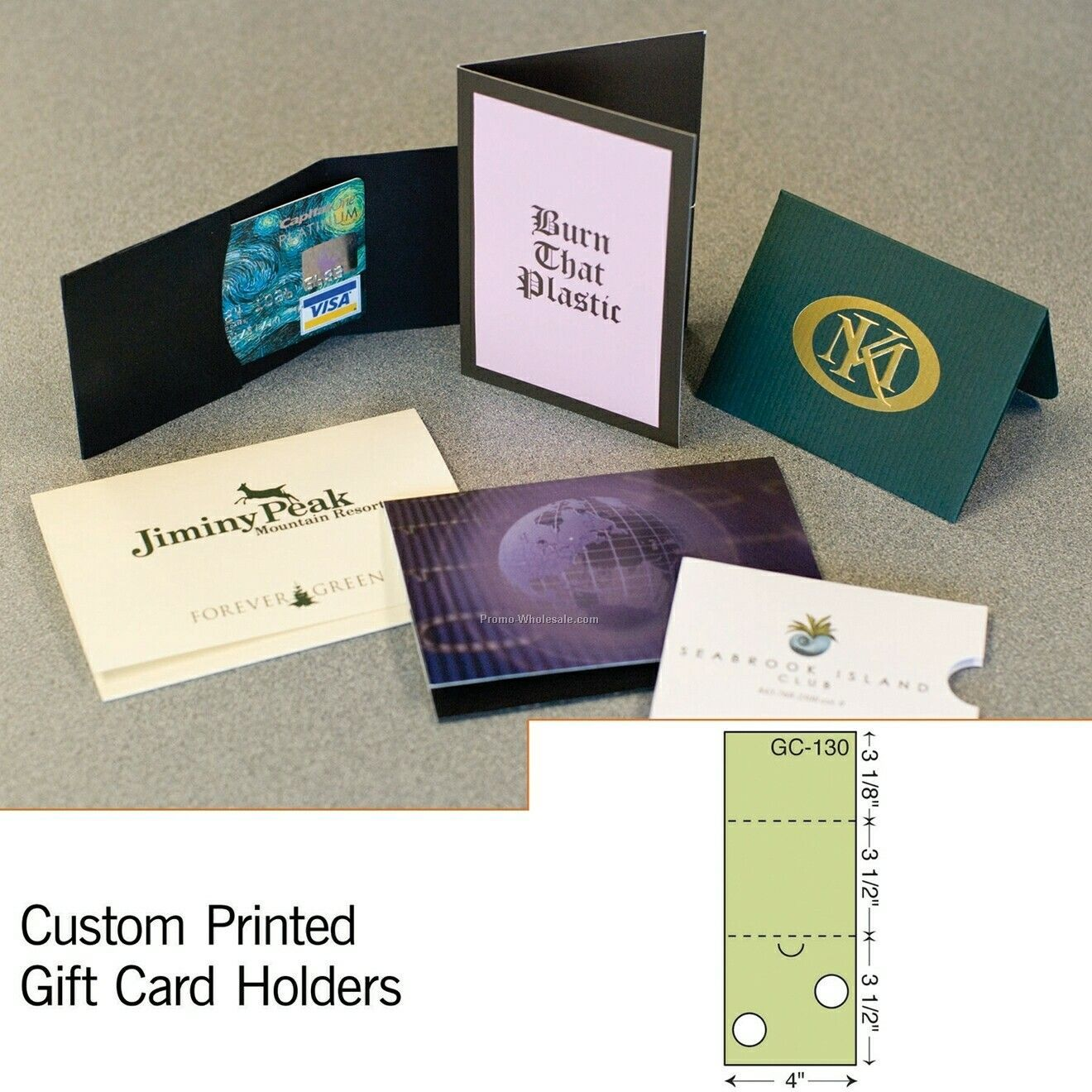 "3-1/2""x4"" Card Holder W/ Outer Flap (Foil Stamp/ Emboss)"