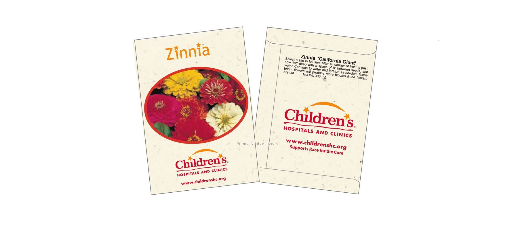 "3-1/4""x4-1/2"" Zinnia - California Giant - Flower Seed Packet (2 Color)"
