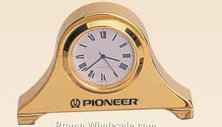 "3-1/8""x2""x1/2"" Gold Plated Miniature Desk Clock (Engraved)"