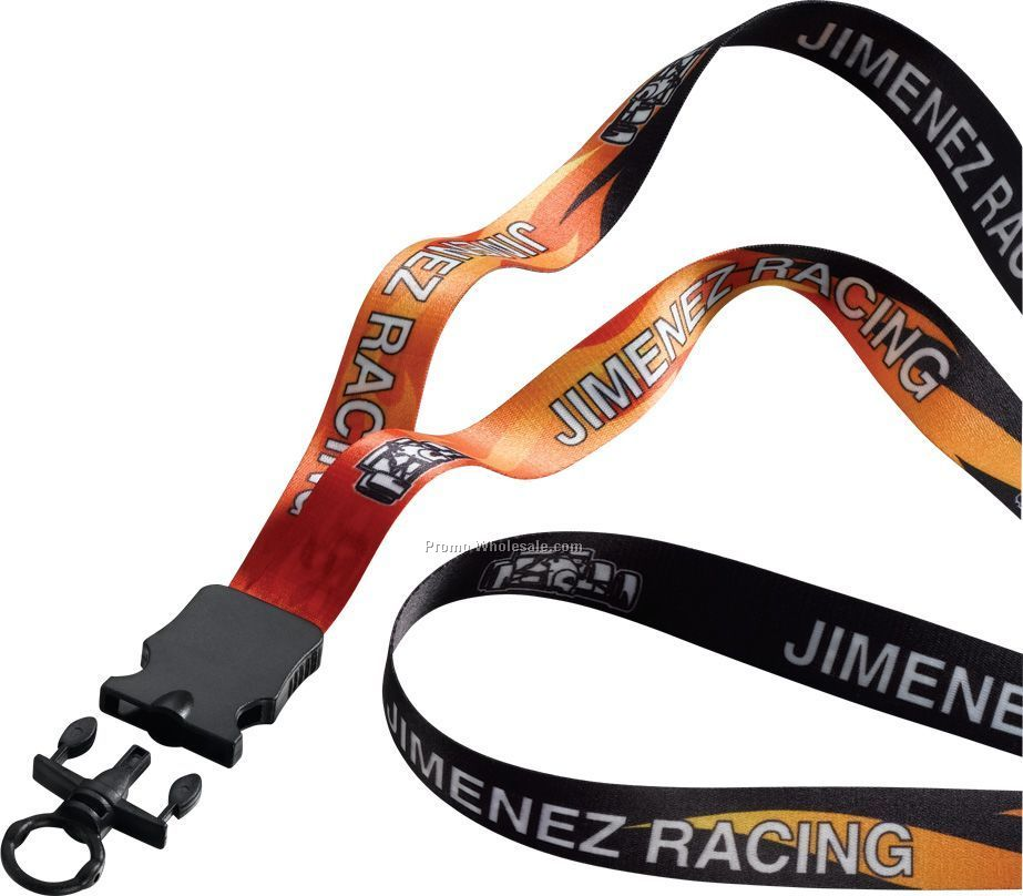 "3/4"" Dye Sublimated Lanyard With Snap Buckle Release & O-ring"