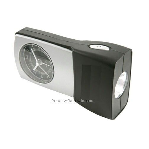 "4-1/2""x2-1/2""x1"" Analog Quartz Alarm Clock With Emergency Flashlight"