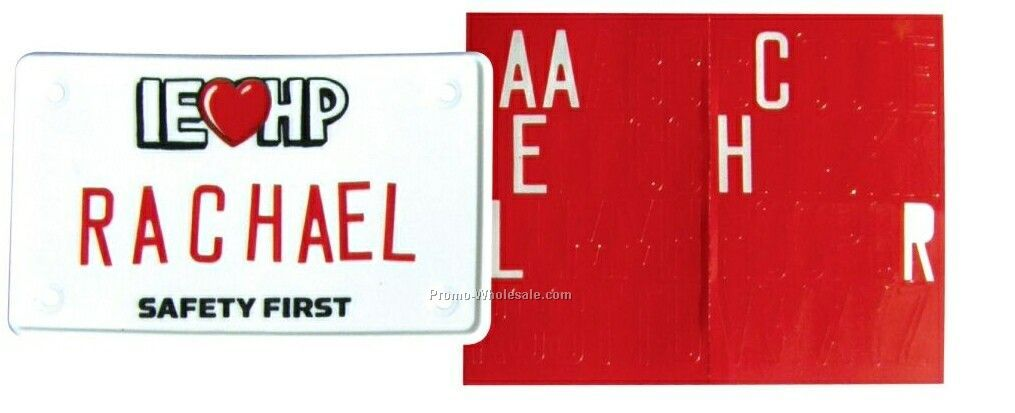 "4""x2-1/4"" Bicycle License Plate With Alphabet Sheet"
