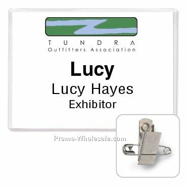 "4""x3"" Rigid Vinyl Nametag Holder W/ Combo Clip & Pin Attachments"