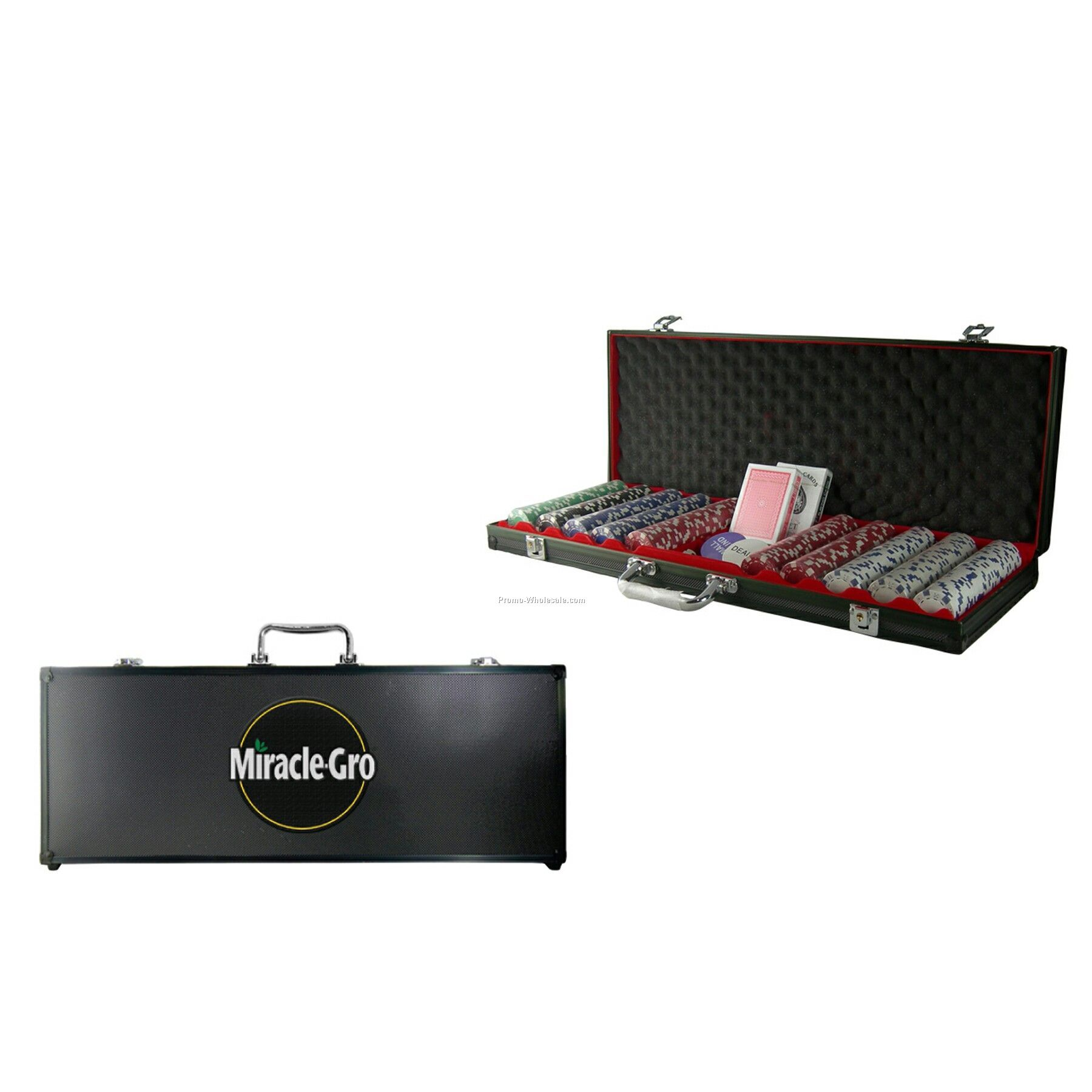 500 Piece Poker Chip Set With Black Case - Decal Chip Imprint