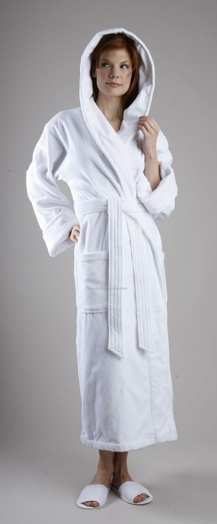 "52"" Rolled Cuff Turkish Loop Terry Premier Hooded Robe (Osfm)"