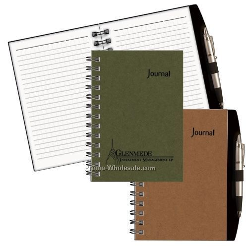 "7""x4-7/8"" Horizon Eco-logic Wired Ruled Journal (Ginger)"