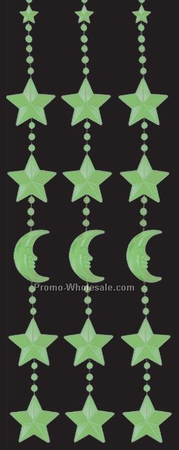 "78""x24"" Nite-glo Moon & Star Bead Curtains"