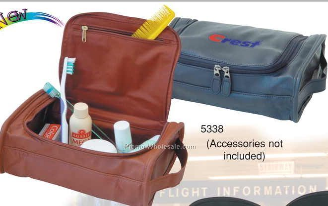 "9-1/2""x6""x3-1/2"" Leatherette Lined Deluxe Travel Kit"
