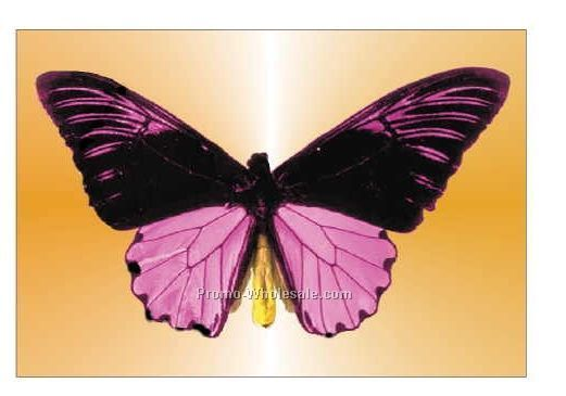 "Black & Purple Butterfly Badge W/ Metal Pin (2-1/8""x3-1/8"")"