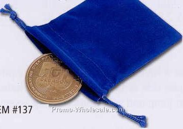 Blue Velour Drawstring Pouch