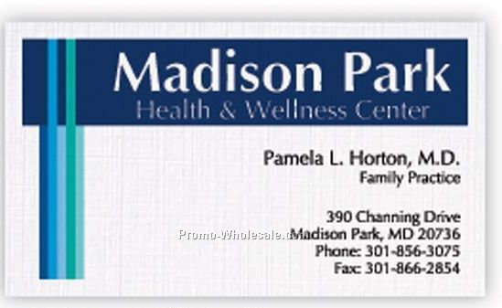 Bright White Linen Business Card W/ 1 Standard & 1 Special Ink