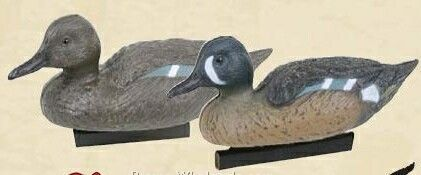 Classic Blue Winged Teal Duck Decoy W/ Water Keel