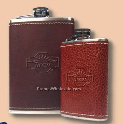 Full Grain Leather Wrapped Stainless 8 Oz. Flask