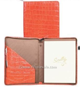 Ladies Tooled Calfskin Zip Letter Pad (Red)