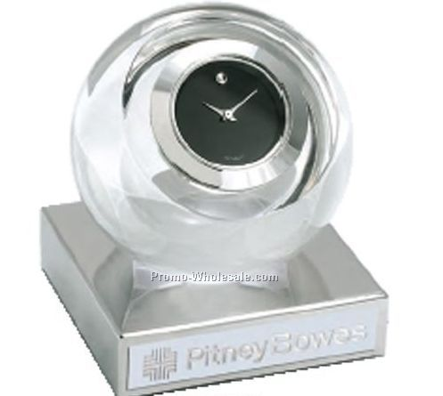 Movado Silver Round Clock With Silver Trim