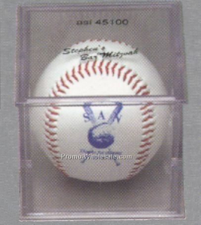 Official Size Synthetic Leather Baseball W/ Acrylic Case