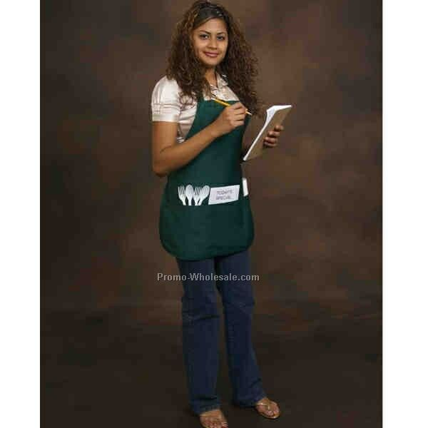 Poly Cotton Apron With 3 Pockets - Medium Length