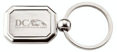 Rectangular Shaped Key Ring W/ Clipped Corners & Center Plate