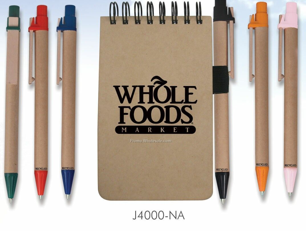 Recycled Jotter Style Notebook W/ Pen