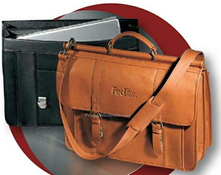 Vaqueta Napa Leather Dowel Rod Laptop Briefcase