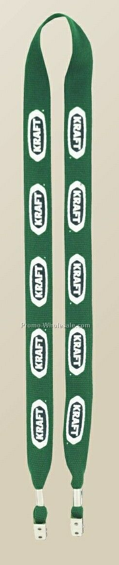 "1"" One Ply Cotton Lanyards With Bulldog Clip At Each End"